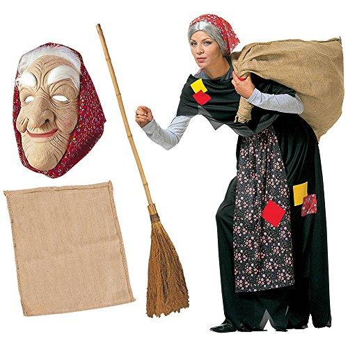 Kit costume da befana per adulti completo + scopa + sacco + maschera vestito epifania (costume + scopa + sacco + maschera)