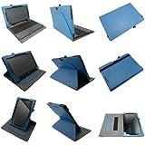 Coodio® Smart Asus Transformer Book T100TA funda de cuero rotatoria 360 con soporte integrado apretón de la mano(support teclado) - Azul