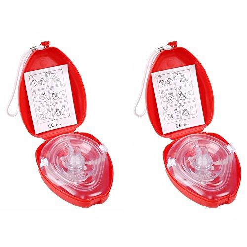 Cpr Beatmungsmaske Mit Filter,Homesupply 2 Stück CPR Tasche Rescue Maske mit aufgedruckter Ersthelfer-Anleitung und Transportbox Mund-zu-Mund Pocket-Gesichtsmaske Face-Mask mit Einweghandschuhe