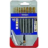 Tivoly A23–Pack de 8forets pour métal DIN 338HSS + TiN Diamètre de 2, 3, 4, 5, 6, 7, 8, 10mm)