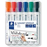 STAEDTLER 351WP6 Lumocolour Whiteboard Marker with Bullet Tip, Multicolor , Pack of 6