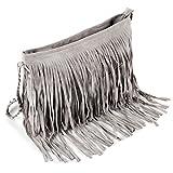Fashion Schultertasche Dame Umhängertasche Beutel Taschen Fransen Tasche Damentsche mit Reissverschluss