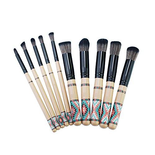 AKAAYUKO 10PCS Kit Pinceau Maquillage Style bohème Blush Pinceau Poudre Brush Fard à paupières Sourcils -Noir