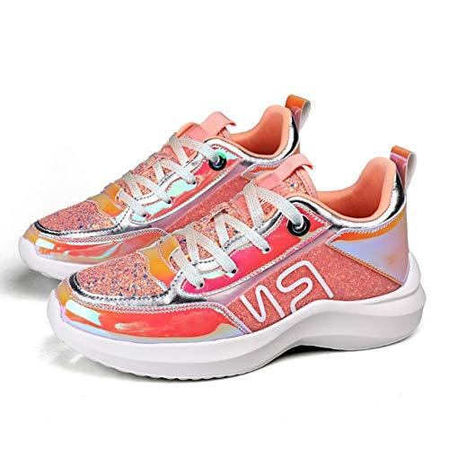 MZNSYDX Scarpe Casual da Donna Sneakers Bianche da Donna Colori Misti Scarpe Casual da Donna Rosa Sneakers estive di Moda 7,5 Rosa
