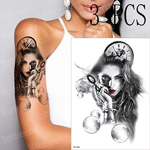 3 Teile/los Maske mädchen Blase Uhr Frauen Schulter Tattoo Geisha Halloween temporäre Tattoos Aufkleber Joker schwarz und