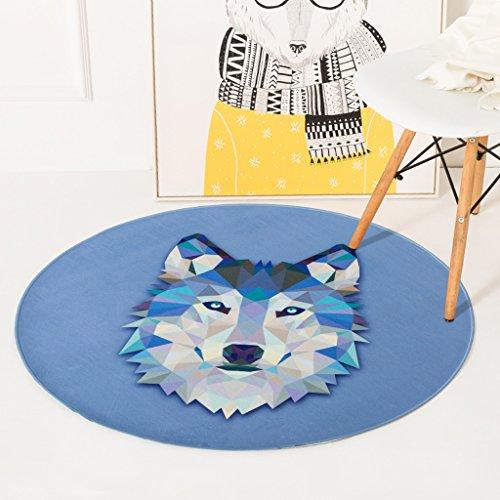good Thing Teppich/Teppich Nordic Cartoon Tier Wolf head rund Teppich Schlafzimmer Nachttisch Wohnzimmer Couchtisch Home Haarverdichtung Computer Stuhl Teppich Krabbeldecke, Nylon, Diameter 80cm -
