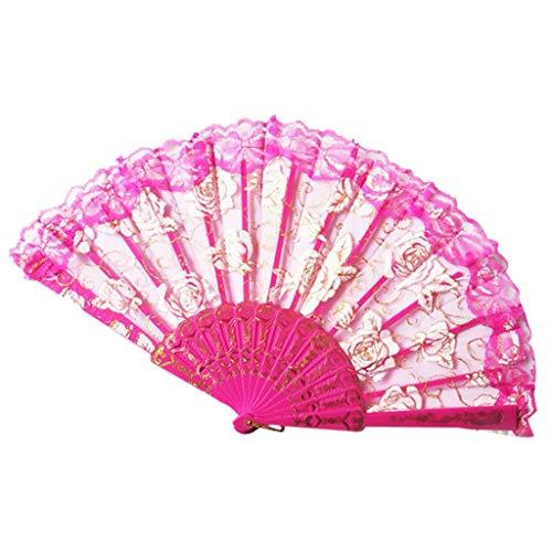 Andouy Retro Faltfächer/Handfächer/Papierfächer/Federfächer/Sandelholz Fan/Bambusfächer für Hochzeit, Party,