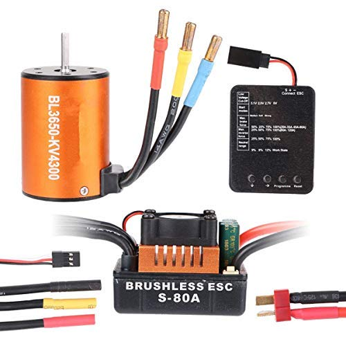 Crazepony-UK B3650 4300KV 4P Sensorless Brushless Motor CNC with 80A ESC Waterproof and Programming Card Combo Set for 1/10 RC Car