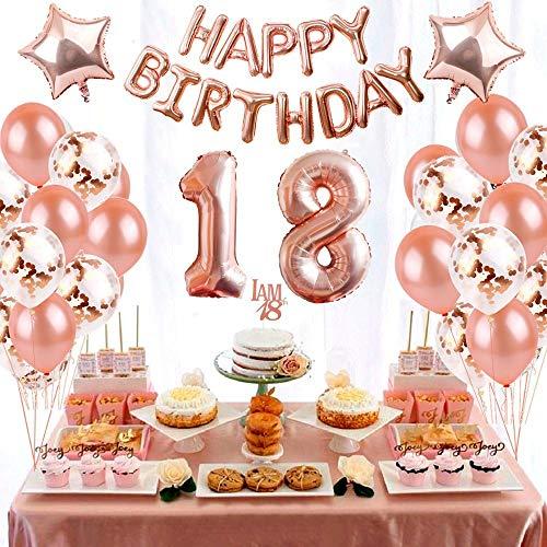 eko Set Nummer 18 Luftballon Rosegold Mädchen, Geburtstag Party Deko -2 Zahl 18 Aufblasbar Helium Folienballon+13 Happy Birthday Folienballon+ 20 Ballons+ 2 Stern Ballon ()