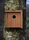 Luxus-Vogelhaus 46755e Designer Nistkasten für Vögel, aus Holz (Eiche, Massivholz), für Garten, Balkon, asymmetrisches Dach, Farbe: Natur – Nisthilfe Vogelhaus - 6