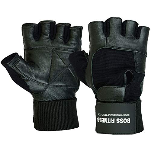 Unisex Premium Leder (BOSS FITNESS Gewichtheber-Handschuhe Premium Qualität Leder verlängerte Handgelenkstütze Unisex Paar, Schwarz, Medium - 7.5