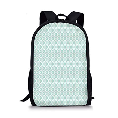 School Bags Teal and White,Old Fashioned Abstract Mosaic Design Elements with Floral Details,Mint Green White for Boys&Girls Mens Sport Daypack (Rolling Rucksack Floral)