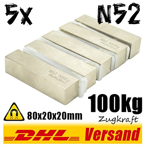5x Neodym Magnet 80x20x20mm 100kg hohe Zugkraft N52 super Industriemagnete Permanentmagnete vernickelt