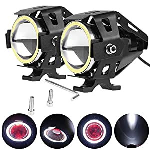 PR U7 Fog Light Lamp Projector Lens With Low Beam High Beam & Strobe Function Angel Light Color: White, (Devil eyes color :Red) For Motorcycle Bike Scooter Led Super Power Spot Beam Light For TVS Sport Electric Start Mag 2 Pcs