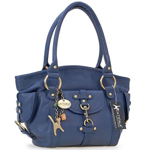"""Lederhandtasche """"Karlie"""" von Catwalk Collection - GRÖßE: B: 37 H: 25 T: 15 cm Blau"""