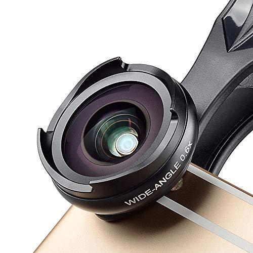 Zach-8 Telefon-Objektiv, 2-In-1 HD Smartphone-Kamera-Objektiv 0,6X Großer Weitwinkel + 10X Makro Geeignet Für iPhone/Huawei Samsung Und Alle Smartphone,Schwarz