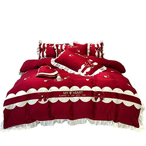 JSWEETLE Boda Rojo 60 Ropa Cama algodón Arco Amor