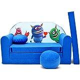 WELOX M00000624 kindersofa, Stoff, blau, 50 x 100 x 60 cm