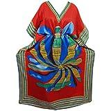 Mogul Interior Womens Kaftan Red Floral Printed Kimono Sleeves Bohemian Caftan Onesize
