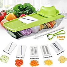 Cortador de verduras multiusos Baban Mandolina 6 en 1 máquina de cortar los alimentos,vegetal máquina de cortar, cortadora de frutas y queso, Con 5 cuchillas + Peeler+Cepillo de limpieza
