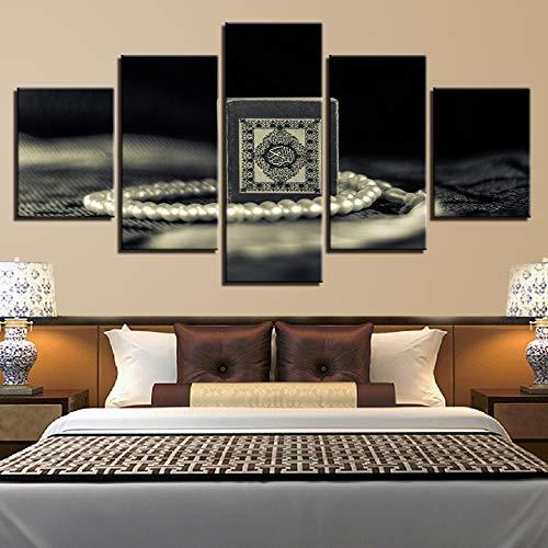 mmwin Picture Picture in Bianco e Nero per Living Room Wall Art 5 Pezzi HD Stampato Pearl Collane Poster Frame Canvas modulare