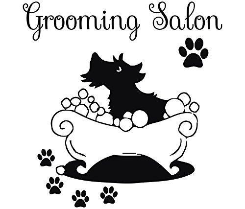 Salone di toelettatura per cani adesivi murali in vinile adesivo finestra tracks pet shop camera decor design interno hall art carta da parati (mn636), vinile, 96cmtall x 92cmwide