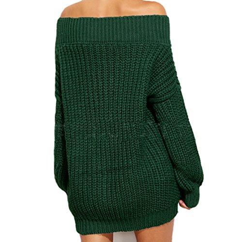 Maglia da Donna Manica Lunga Sciolto Baggy Lungo Maglione Pullover Sexy V-Collo Moda Senza Spalline Maglioni Colore Solido Denso Caldo Sweatshirt di Maglia Verde