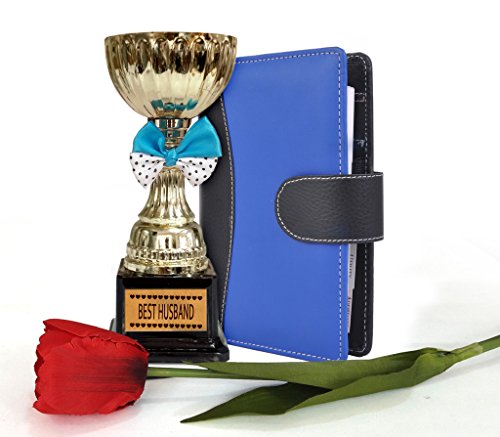 TiedRibbons® Valentine's Day Gifts for Husband Faux Leather Executive Organizer/Diary/Planner and Best Husband Golden Trophy with Tulip Stem  available at amazon for Rs.849