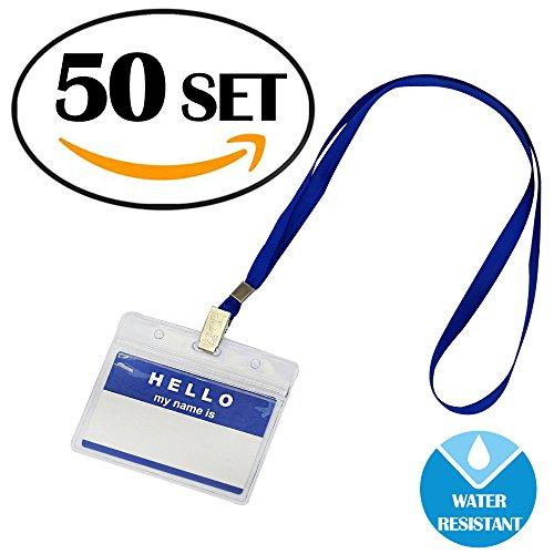 GIMARS 50 Sets Namensschilder mit Band Kartenhülle Ausweishalter Lanyard für Business, Ausstellung, Büro, Schule und Kinder