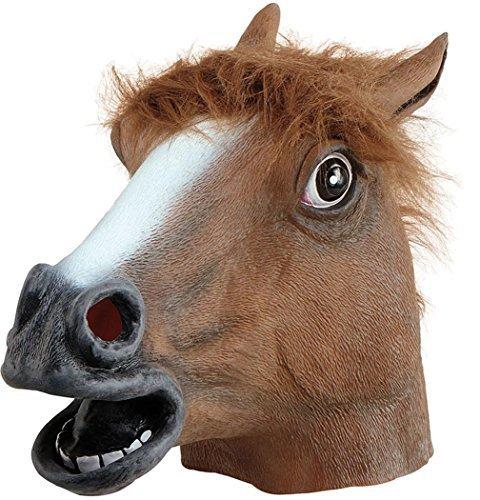 üm Zubehör Mit Kapuze Wildtiere Jungle Tier Kostüm Maske - Braunes Pferd (Braune Pferde Maske)