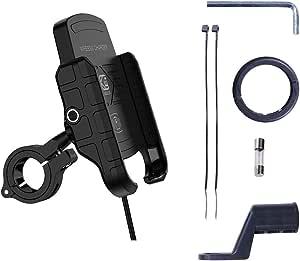 Freshsell Motorrad Handyhalterung Motorrad Telefon Qi Schnellladung Wireless Charger Mount Wasserdicht 12v Handy Ladegerät Halterung Halter Ständer Küche Haushalt
