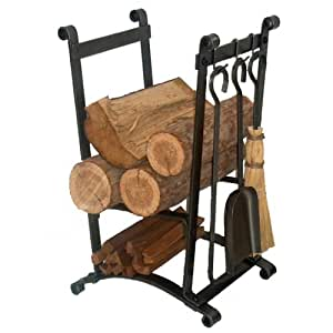 Enclume Compact Curved Log Rack with Fireplace Tools, Hammered Steel by Enclume