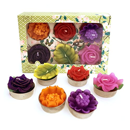 Hana-Blossom-Handmade-Scented-Tropical-Flower-Tealights-in-Assorted-Colours-in-a-Gift-Box-Set-of-6