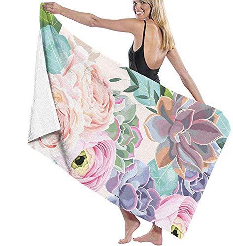ElRLSHDH Badetuch Strandtücher Mikrofaser Strandtuch Rosa Blumen Und Saftiges Badetuch Stranddecke Schnelltrocknendes Handtuch Für Die Reise Schwimmbecken Yoga Camping Gym Sport
