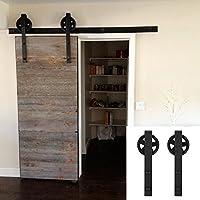 hahaemall 2m/2M, Staffa da parete in acciaio singolo scorrevole fienile in legno porta hardware moderno (Singolo Barndoor)
