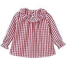 Camiseta de algodón con mangas largas para niñas, cuadros, camisetas de cuadros, blusas, ropa