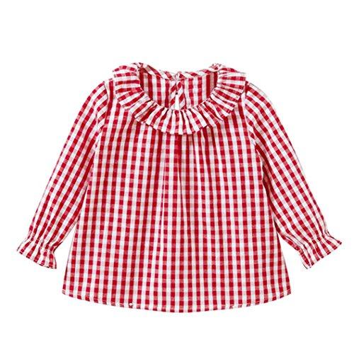 Camiseta de algodón con mangas largas para niñas, cuadros, camisetas de cuadros, blusas, ropa (3 Años, rojo)