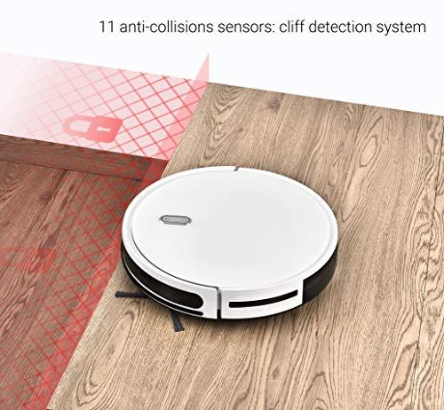 518CwftYx7L [Bon Plan] Robot Aspirateur 3 en 1, fonction Balai, Aspirateur et laveur de Sol, avec un Réservoir D'Eau, Fonctionnement facile « 1 Touche », 6 Modes de Nettoyage, charge Automatique, avec Capteurs Anti-Chutes
