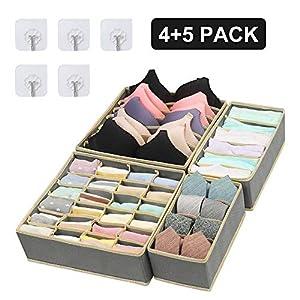Jooheli 4 Stück Büstenhalter Aufbewahrungsbox, Aufbewahrungsbox für Unterwäsche Faltbare Schubladen Organizer zum Aufbewahren von Socken, Dessous BHS und Krawatten