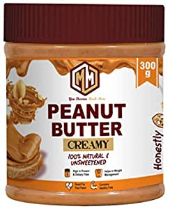 MUCHMORE NUTRITION All Natural Peanut Butter (Creamy) | Unsweetened | 32g Protein | Non GMO | Gluten Free | Cholesterol Free (300g)