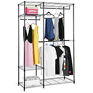 COSTWAY Kleiderschrank aus Metall, Garderobenständer mit Kleiderstangen, Stoffschrank 180x120x45cm, Garderobenschrank mit verstellbaren Ablagen, Faltschrank schwarz