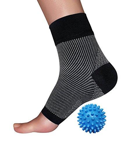 Ohne Zehen Plantarfasziitis Kompression Socken mit One Spiky Massage Ball Bonus–Beste heilen Bundle für Ihren Fuß Schmerzen, Knöchel und Fußgewölbe und Schwellungen, schwarz, L/XL (Wrap Sportliche Adidas)