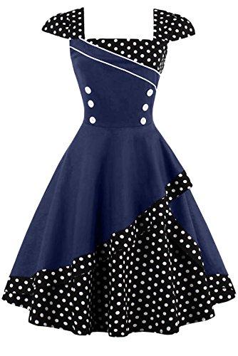 Damen 50er Jahre Vintage Rockabilly Kleid Pin up Cocktailkleid Polka Dots Partykleid Knielang- Gr. 4XL (48), Schwarz Blau (50er Jahre Pin Up Kleid)