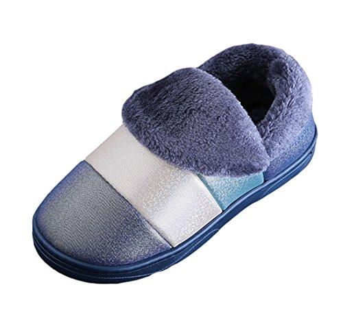 Icegrey Unisex Winter Warme Hausschuhe Streifen Muster Plüsch Fleece Haus-Hefterzufuhren Wärmehausschuhe Blau 42 43 (Damen Mikrowellen Pantoffeln)