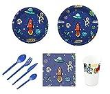 Pack per festa o compleanno per bambini con design di pianeti - Set di stoviglie in plastica per 12 persone - 120 pezzi