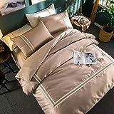 yaonuli Vierteiliges Set aus gewaschener Baumwollseide mit Blumen-Bettbezug Gold Betel 2.0: Bettbezug: 220 * 240 cm Bettlaken: 245 * 270 cm Kissenbezug: 48 * 74 cm * 2