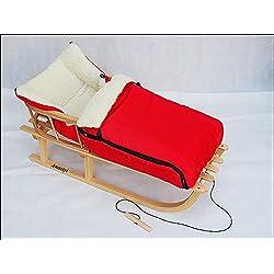 Trineo de madera con saco de lana y respaldo, trineo muchos colores, rojo