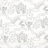 Ausmalstoff Popeline Traumschloss – Weiss — Meterware