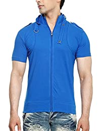 Tees Collection Men's Full Zip Buckle Neck Half Sleeve Blue Colour T-shirt