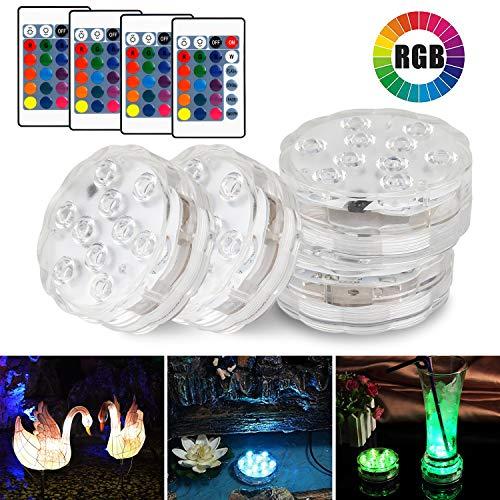 icht, Wasserdichte LED Unterwasserlicht Multi Farbwechsel LED Leuchten für Teichbeleuchtung Brunnen Fish Tank, Hochzeit Party Dekoration Unterwasserlicht, 4 Stück mit Fernbedienung ()